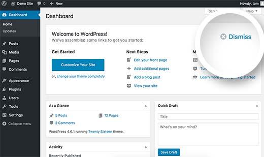 Закрытие панели приветствия на консоли WordPress