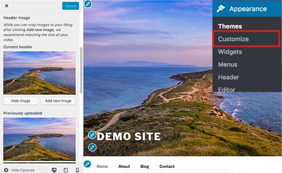 Изменение изображения заголовка в WordPress