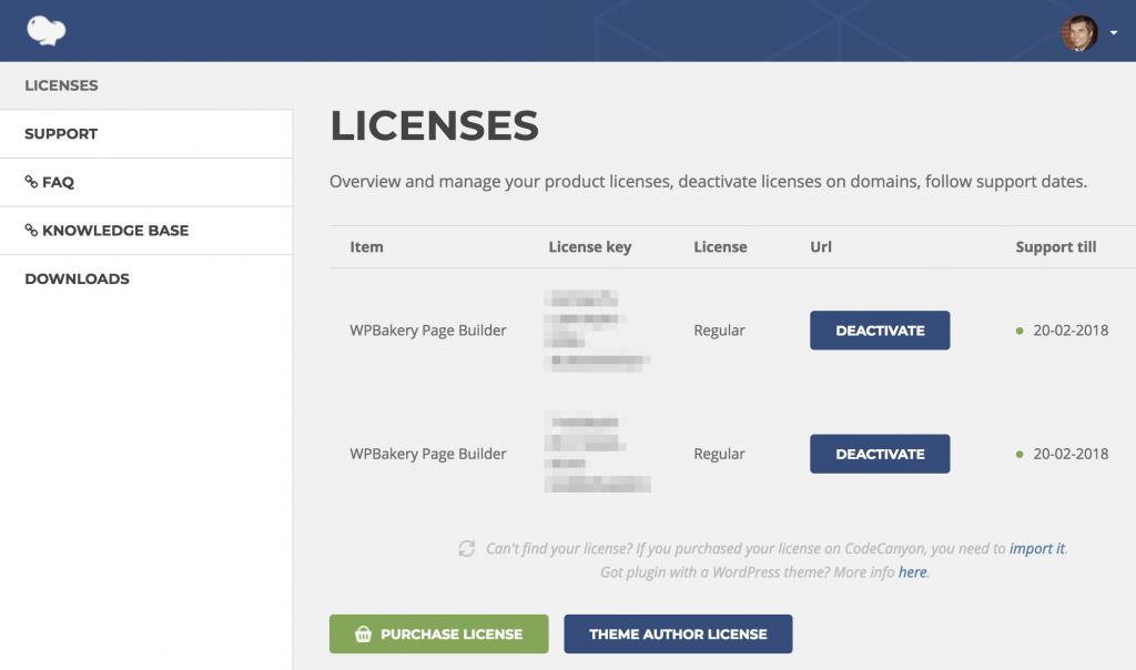 Деактивация лицензии Visual Composer на сайте WPBakery